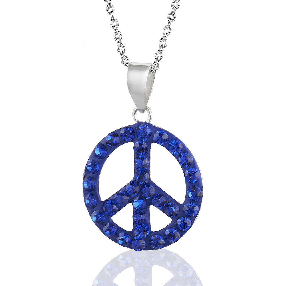"Handmade Capri Blue Crystal Glass Girls & Tweens Peace/Love Pendant Necklace, 16"" Fashion Jewelry"