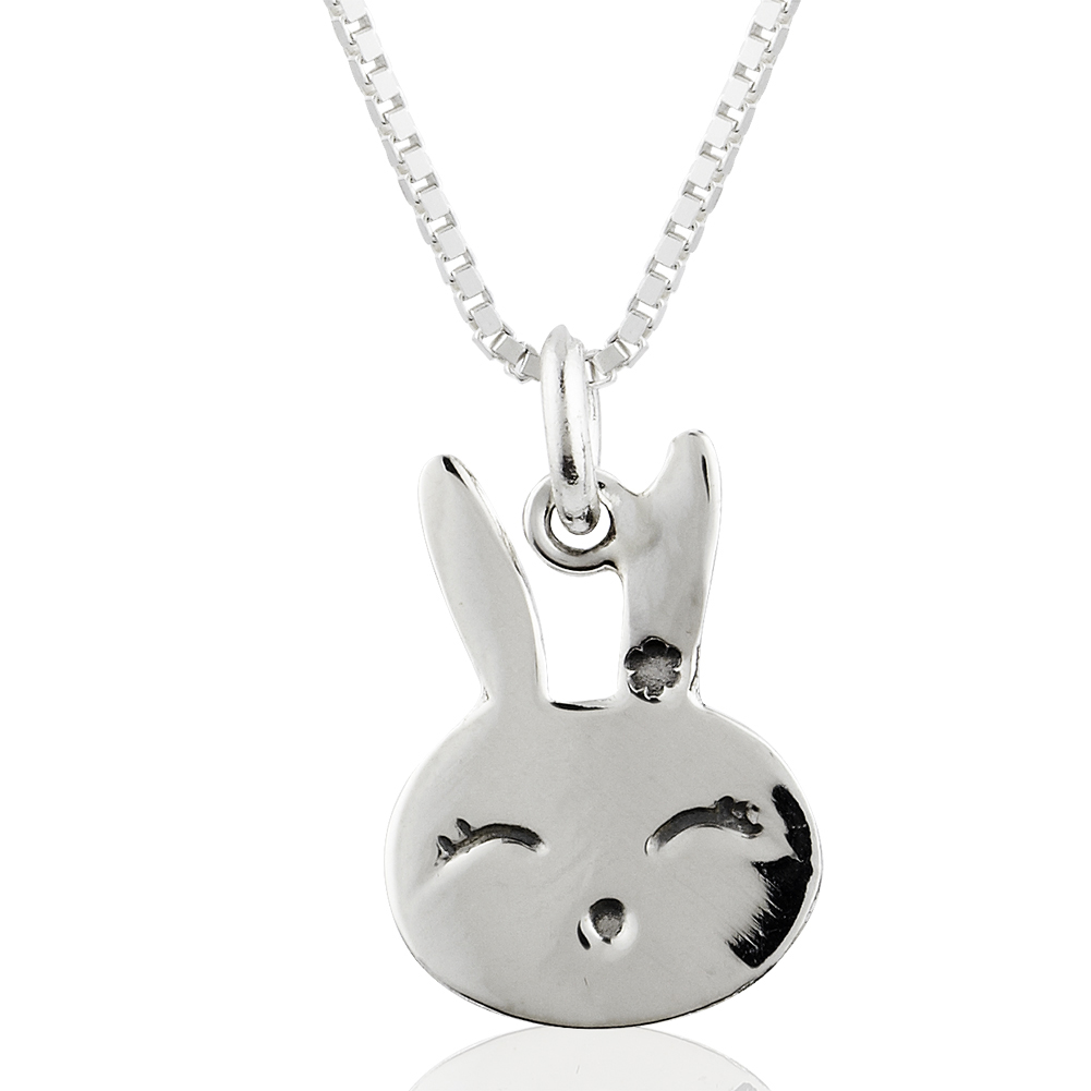 Children's 925 Sterling Silver Bunny Rabbit Face Pendant Necklace, 16 inches