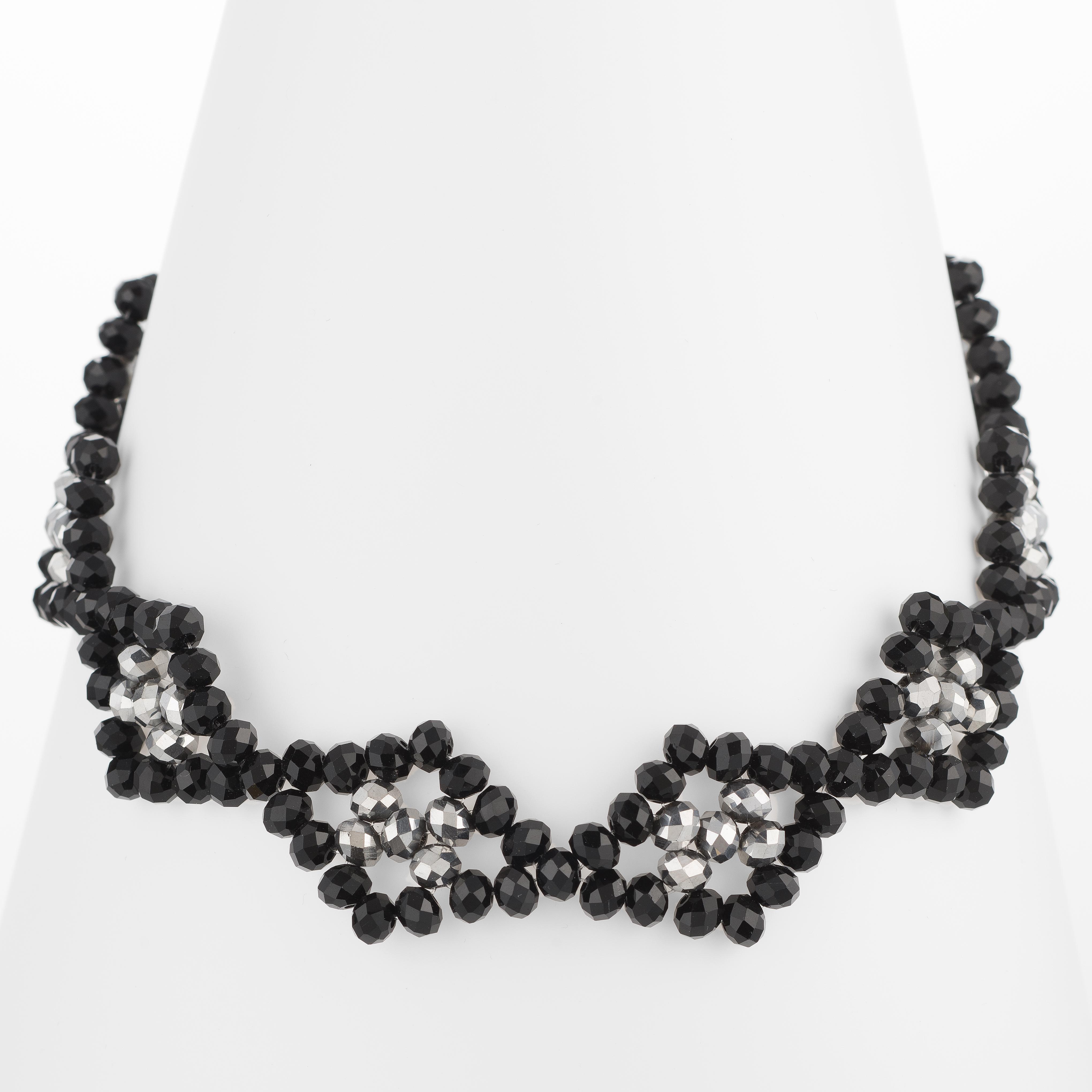 Handmade Diamond Shape Black Onyx, Crystal, Seed Beads Adjustable Necklace, Jewelry For Women, Girls