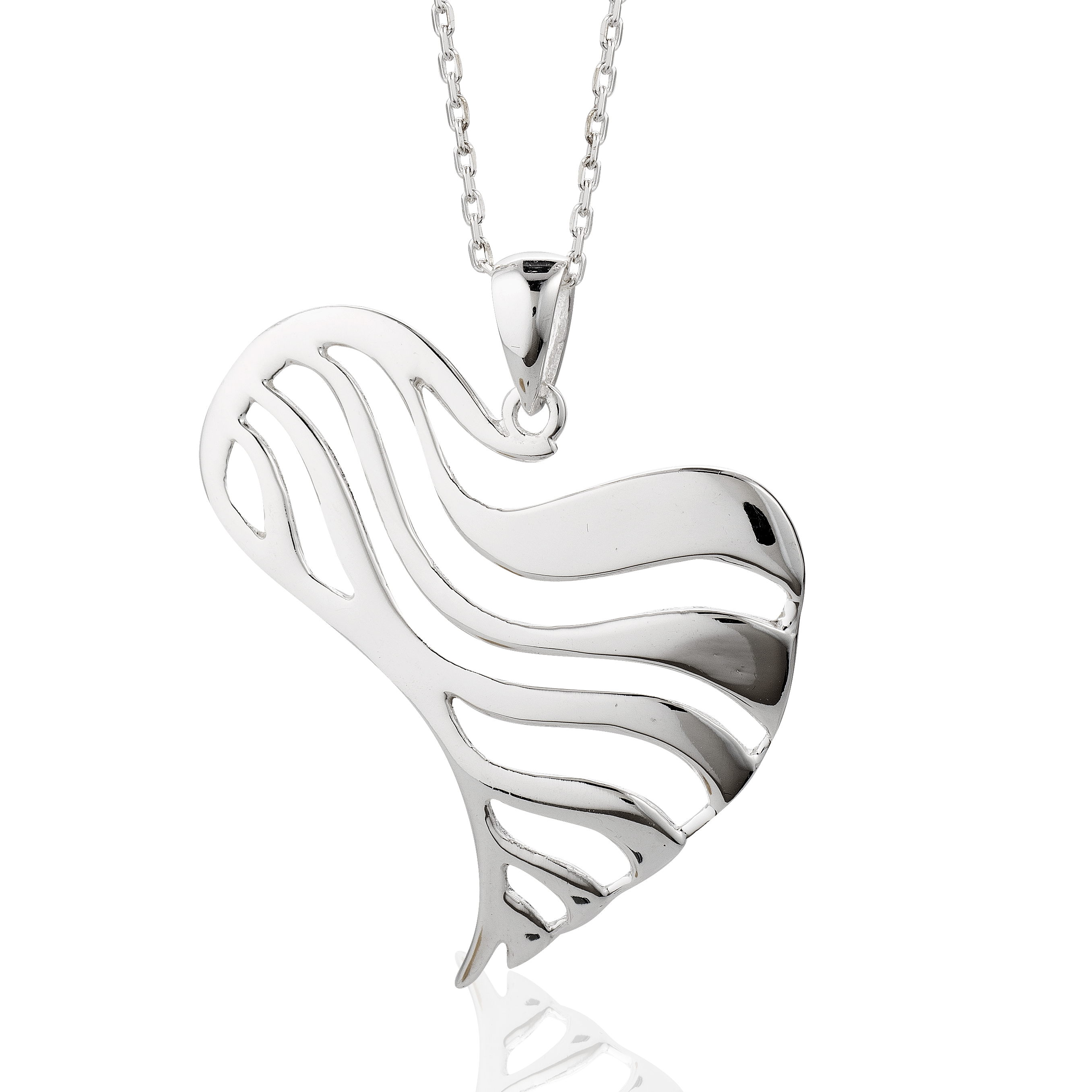 925 Silver Plated Wide Abstract Open Wave Heart Pendant Necklace, Love Jewelry For Women, Girls