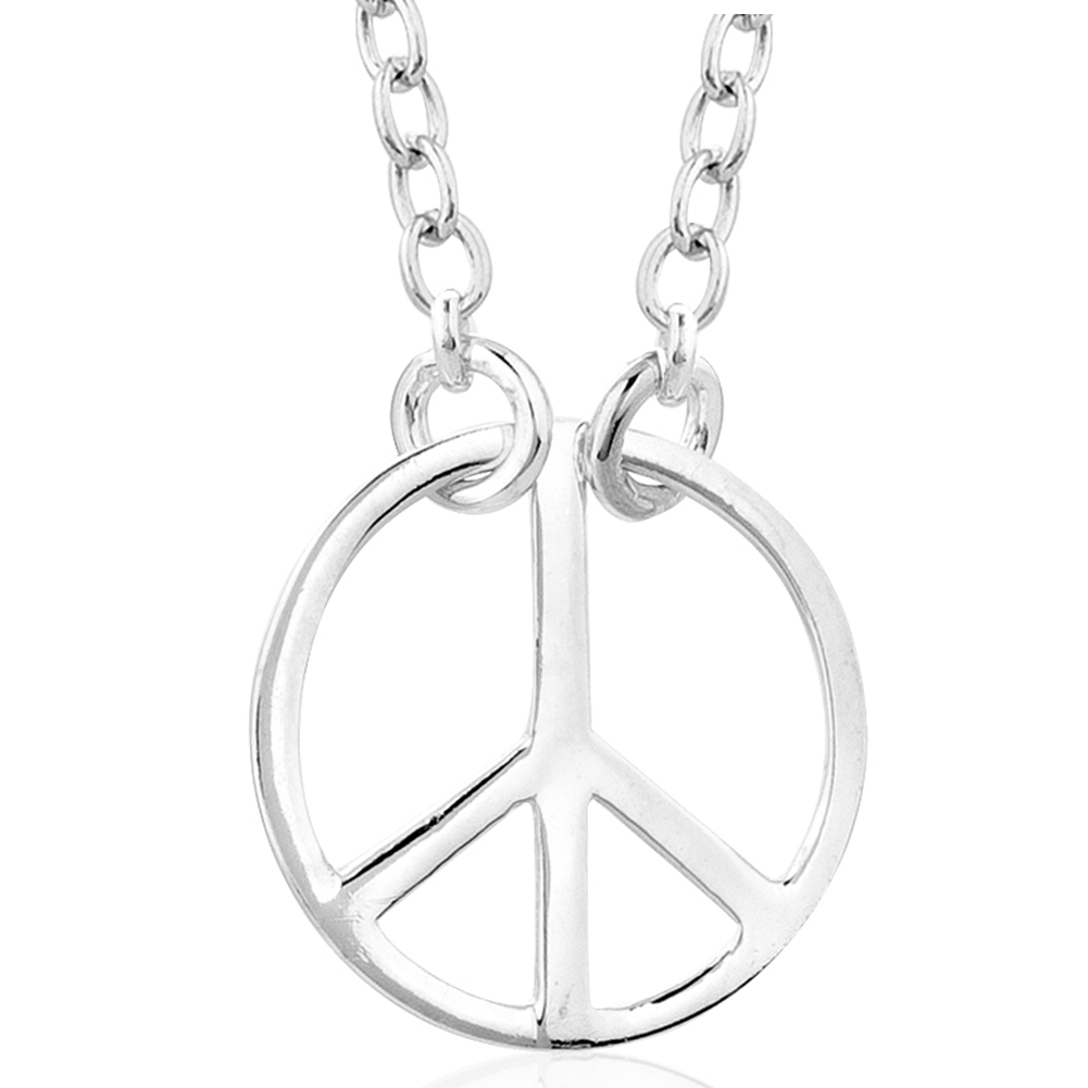 925 Sterling Silver Peace/ Love Symbol Charm Pendant Necklace, Fashion Jewelry For Girls, Women