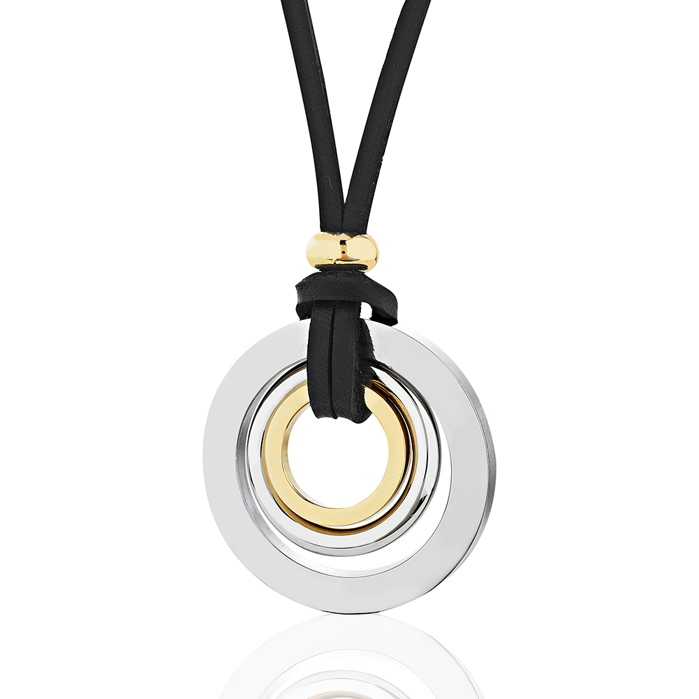 3 Gold Plated Stainless Circles, Leather Cord Pendant Necklace, Fashion Jewelry, Women, Teens, Girls