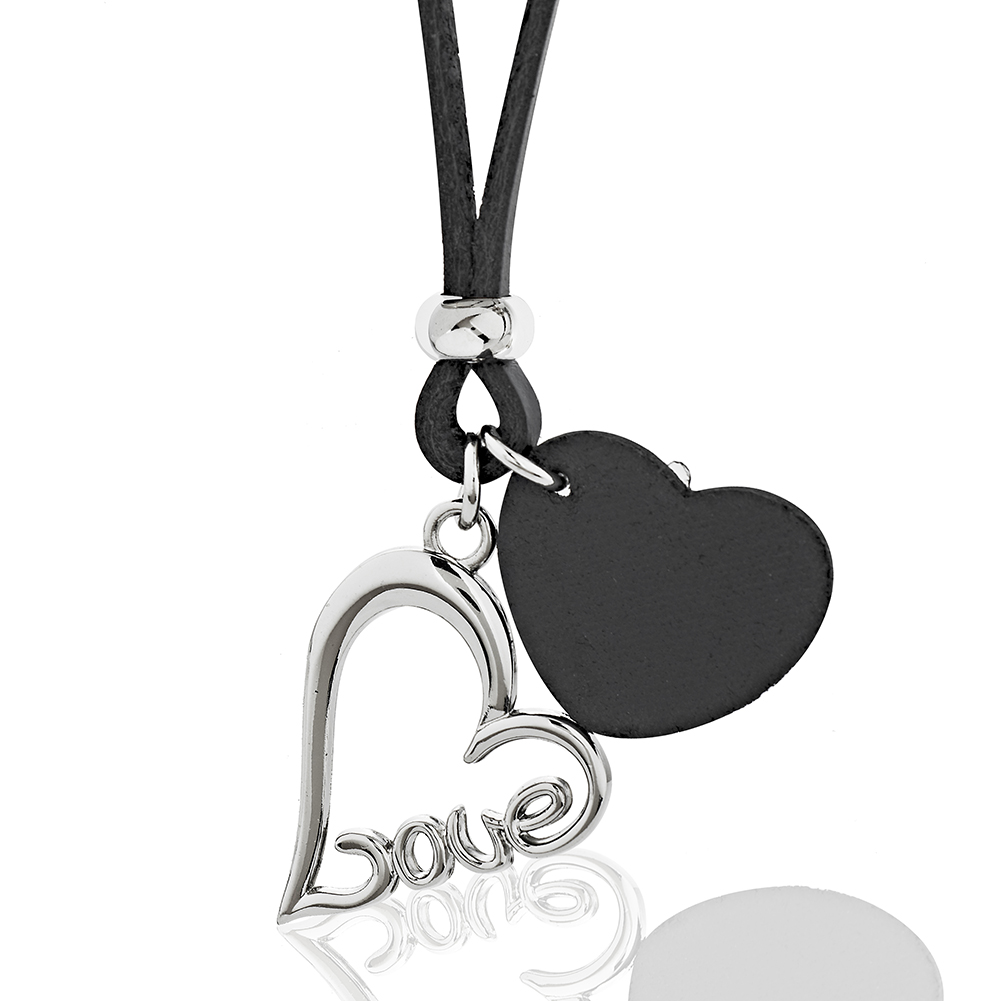 Black Leather Cord & Heart w/ Stainless