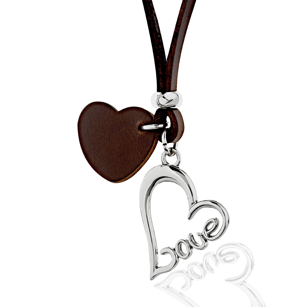 Brown Leather Cord & Heart w/ Stainless