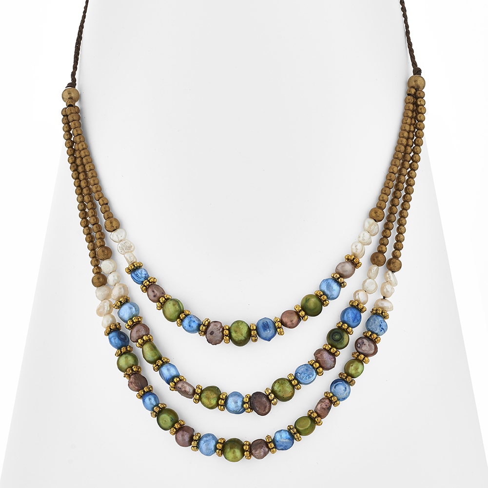 Beaded, Dyed Fresh Water Pearls & Brass Adjustable Fashion Choker Necklace, Jewelry For Women, Teens