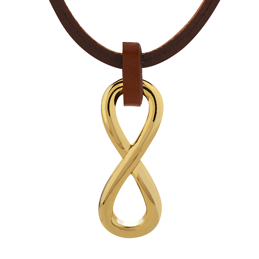 Light Brown Leather Cord, Gold/ Stainless Infinity Forever Love Pendant Necklace, Fashion Jewelry