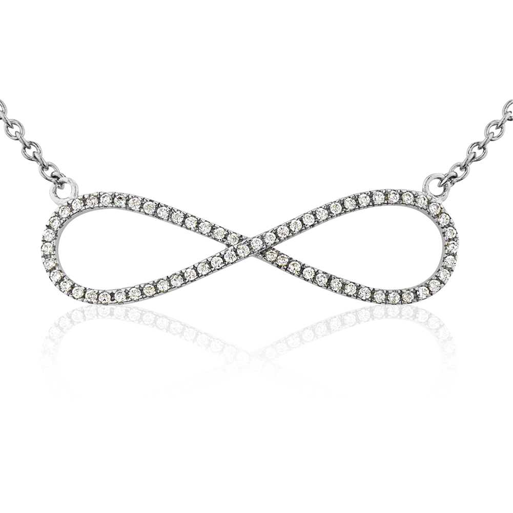 925 Sterling Silver, Rhodium CZ Forever In Love Infinity Charm Pendant Necklace, Jewelry For Women