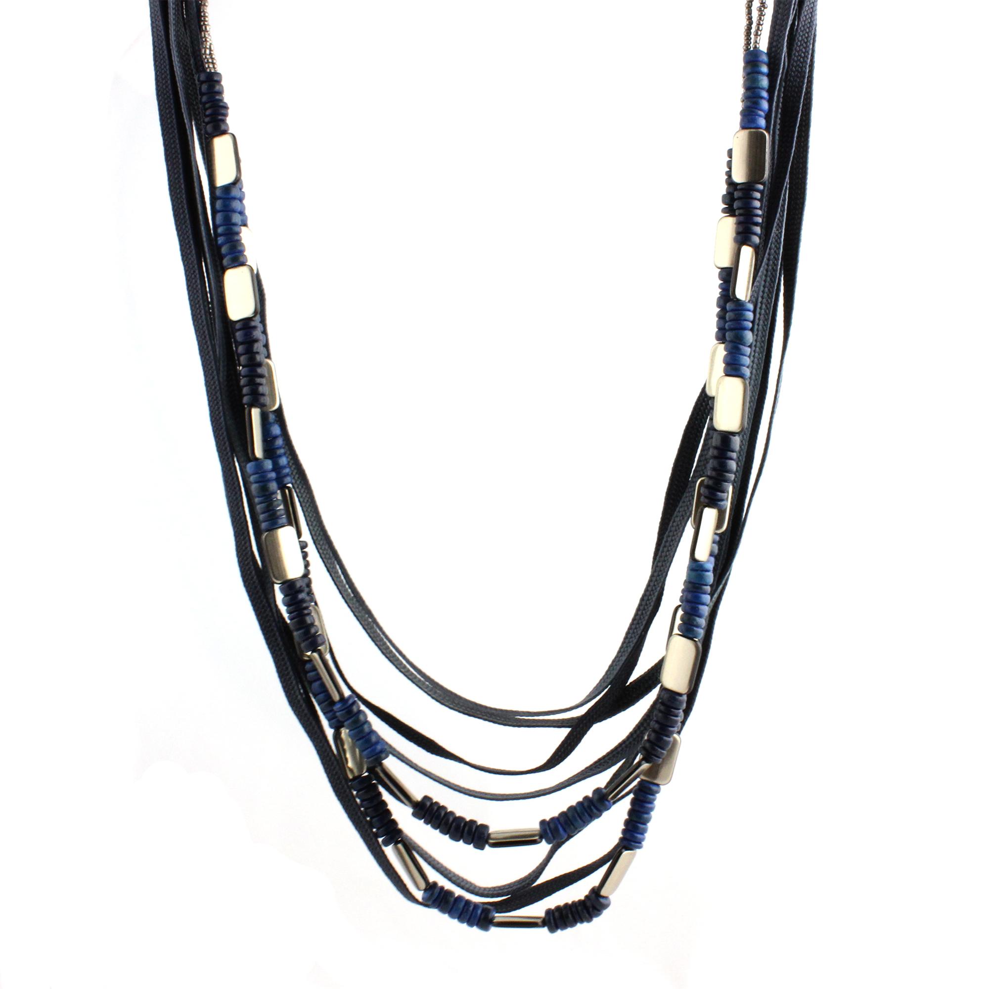 Black Mulit Strand Long Fashion Necklace Polyester, Seed Beads, Wood & Zinc 36