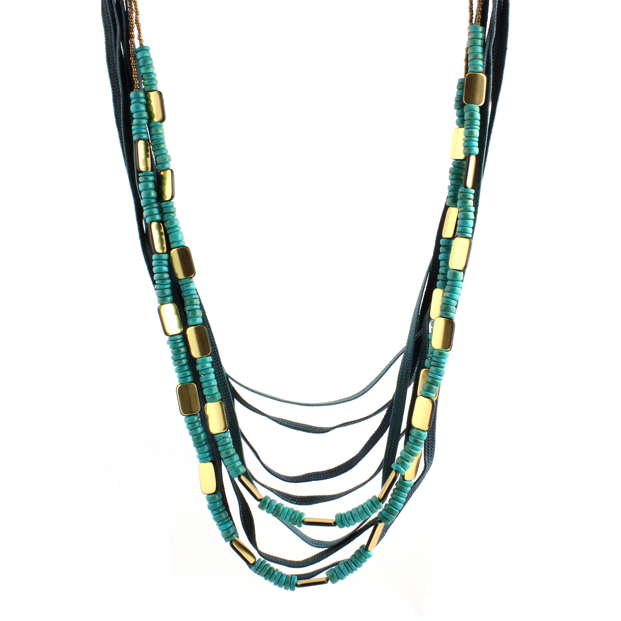 Multi Strand Long Polyester Necklace, Blue, Green Beads, Wood/ Gold Plated Zinc 36
