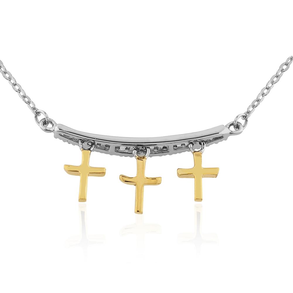 14K, 925 Silver 3 Gold Cross Charms Dangle Form Single Line of CZ Stones Pendant, Christian Jewelry