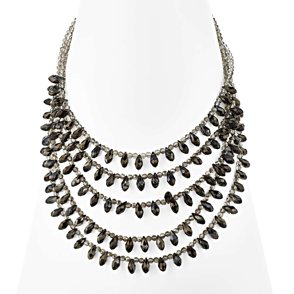 Zinc Five (5) Row Light Gray Seed and Crystal Bead Strand Necklace, 20-23 inches