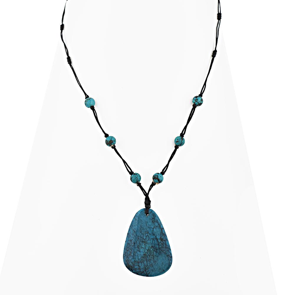 cotton wax and turquoise gemstone teardrop pendant