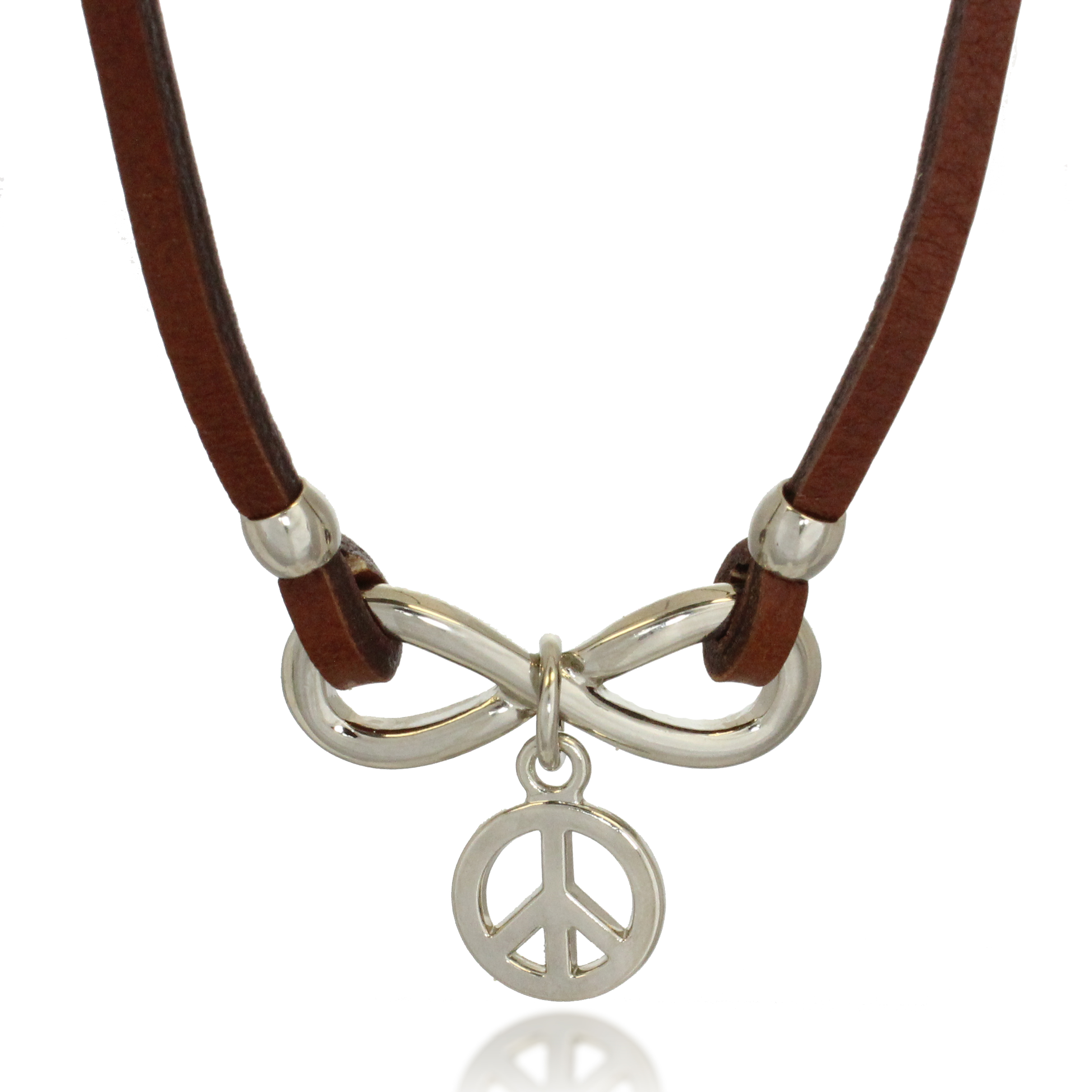 Stainless Steel and Brown Leather Horizonal Infinity Peace Charm Pendant Necklace, 20 inches
