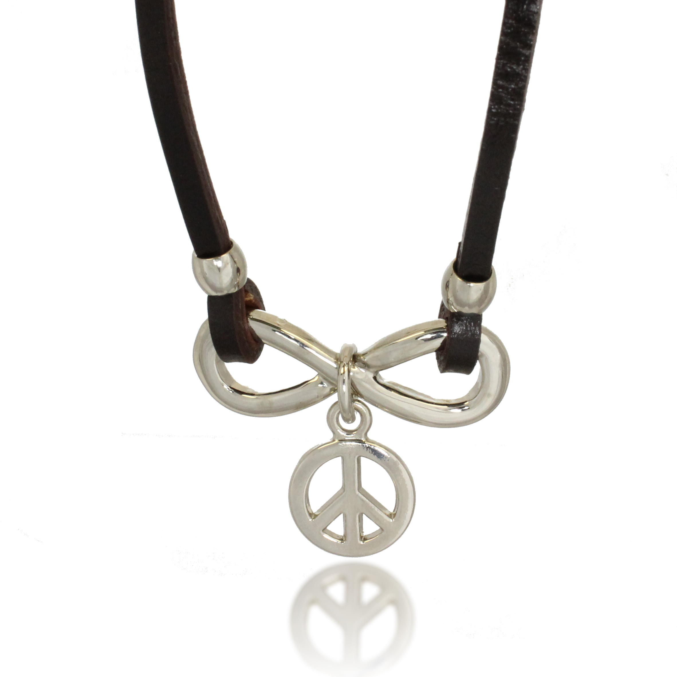 Stainless Steel and Dark Brown Leather Horizonal Infinity Peace Charm Pendant Necklace, 20 inches