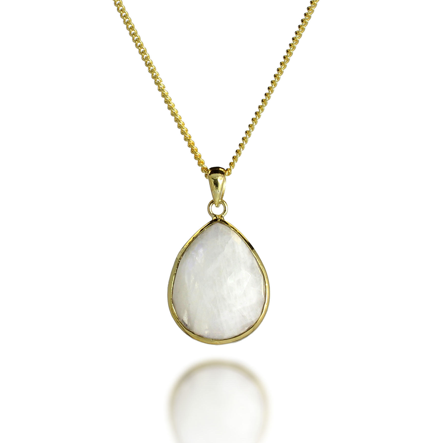 18K Gold-Plated Faceted Teardrop Rainbow Moonstone Gemstone Pendant Necklace, 17-19 inches