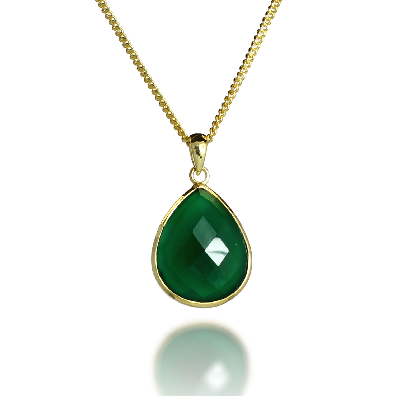 18K Gold-Plated Faceted Teardrop Green Onyx Gemstone Pendant Necklace, 17-19 inches