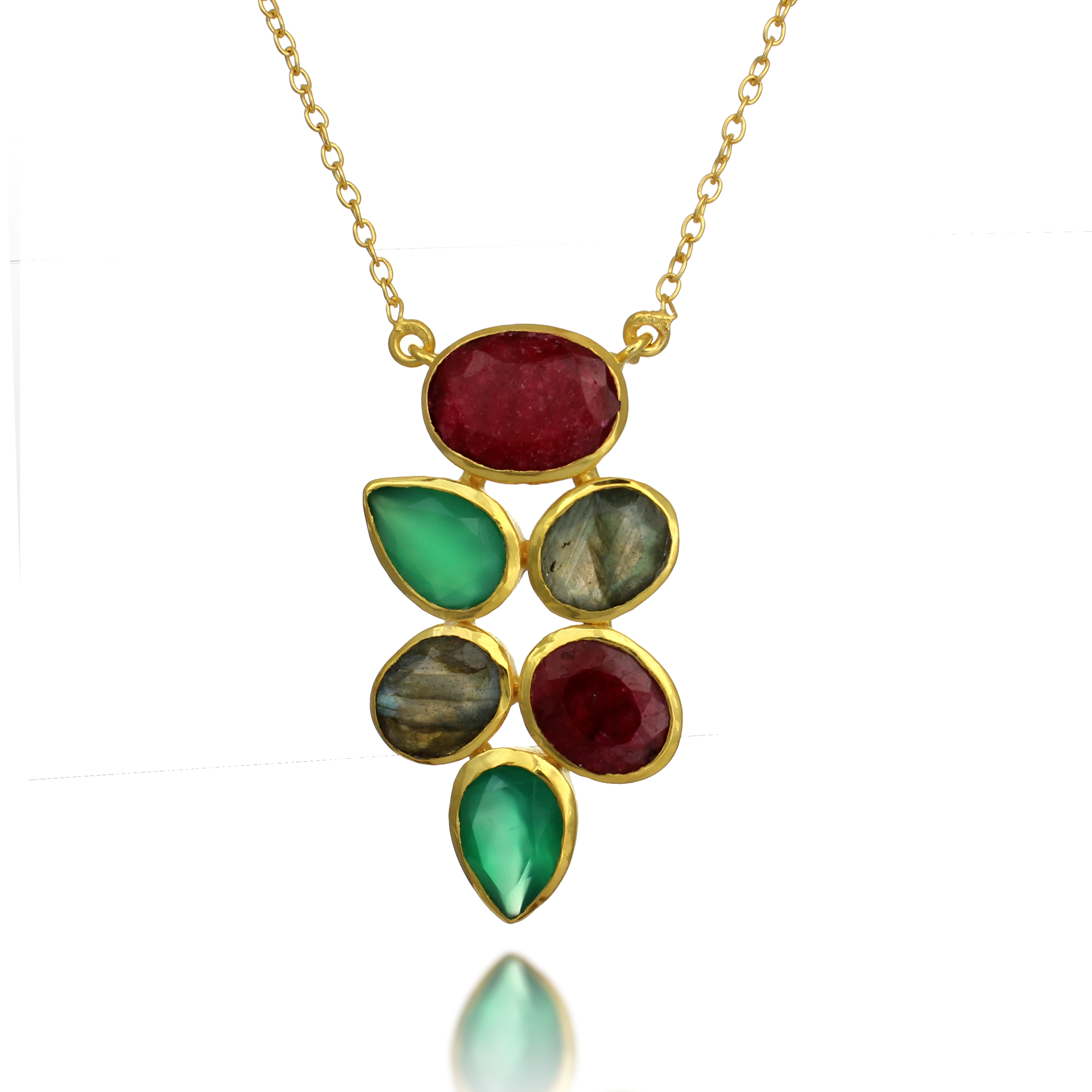 18K Gold-Plated Red Ruby, Green Onyx, and Labradorite Gemstone Pendant Necklace, 18-19 inches