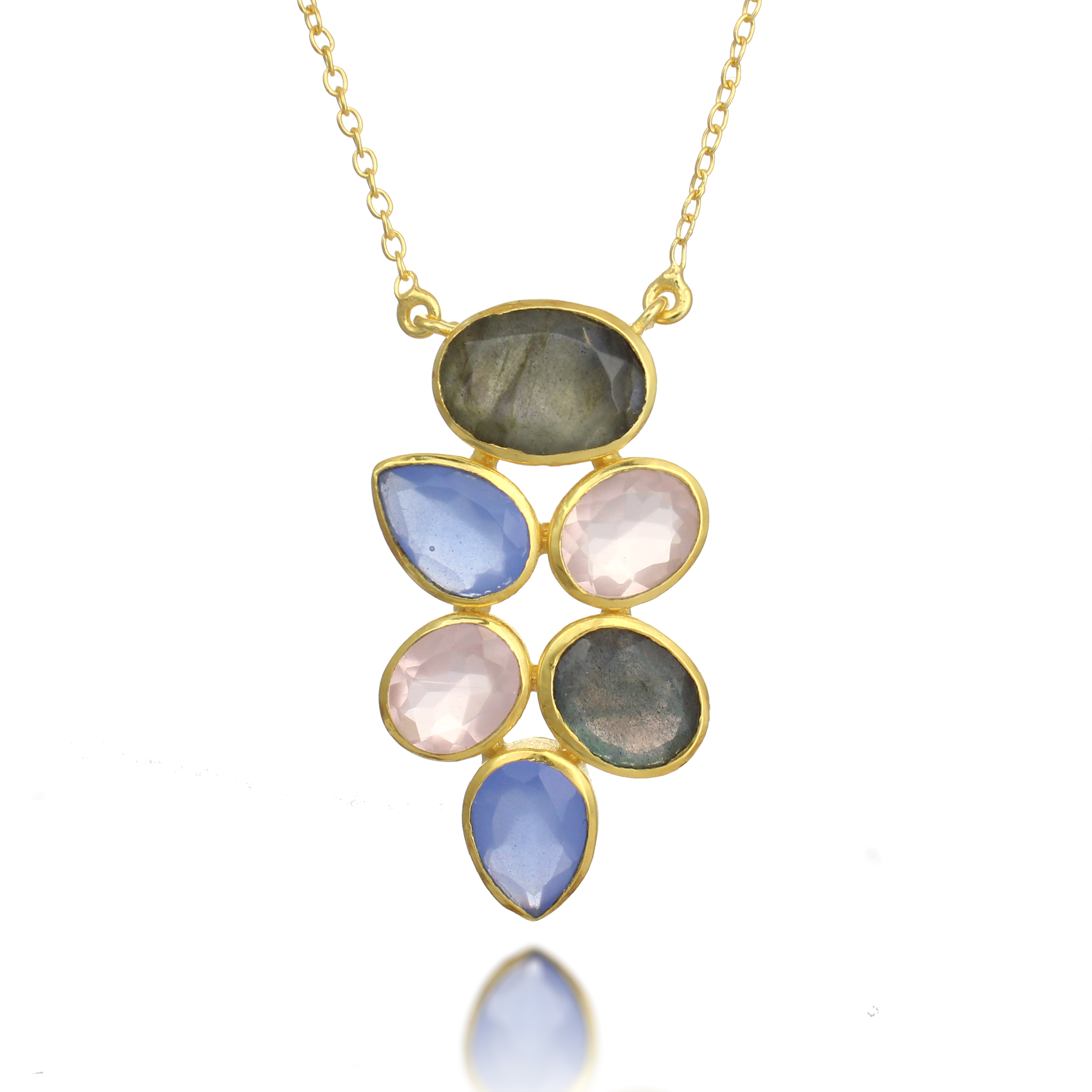 18K Gold-Plated Blue Chalcedony, Labradorite and Rose Quartz Gemstone Pendant Necklace, 18-19 inches