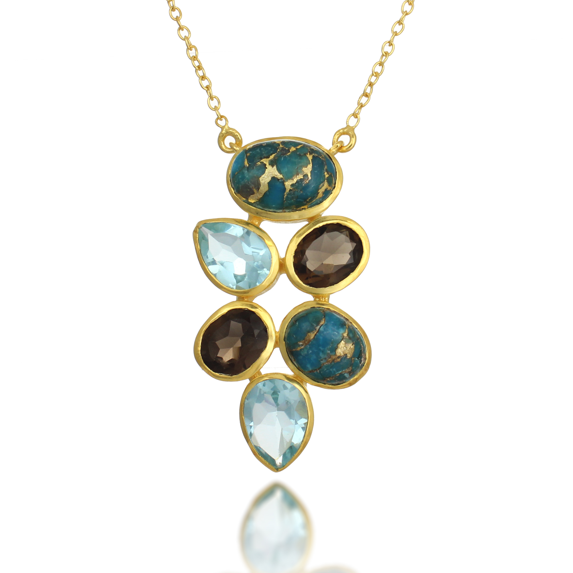 18K Gold-Plated Blue Topaz, Turquoise, and Smoky Quartz Gemstone Pendant Necklace, 18-19 inches