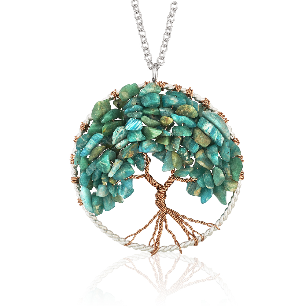 Silver-Plated Brass Copper Trunk Tree of Life Long Blue Aquamarine Gemstone Necklace, 30 inches