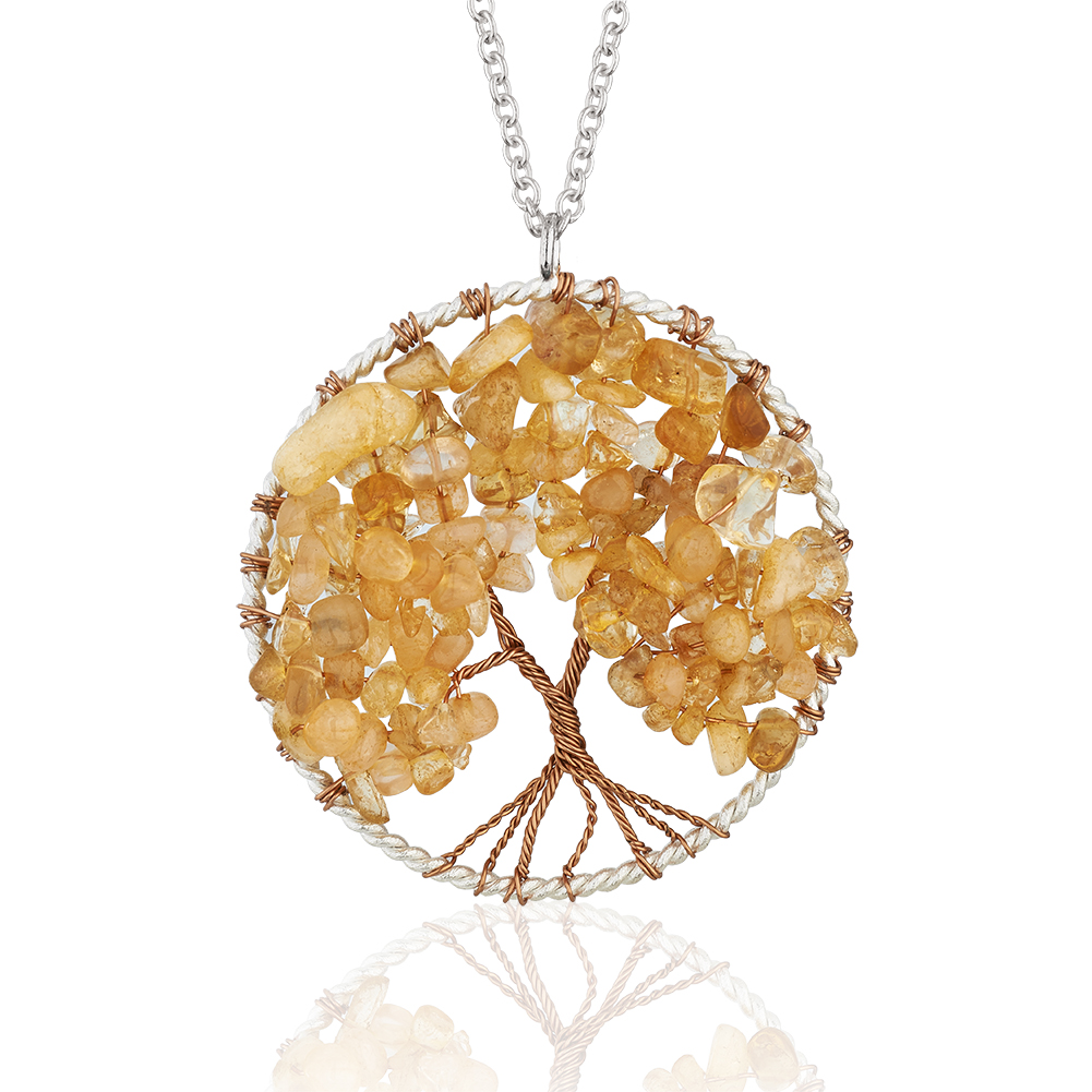 Silver-Plated Brass Copper Trunk Tree of Life Long Orange Citrine Gemstone Necklace, 30 inches