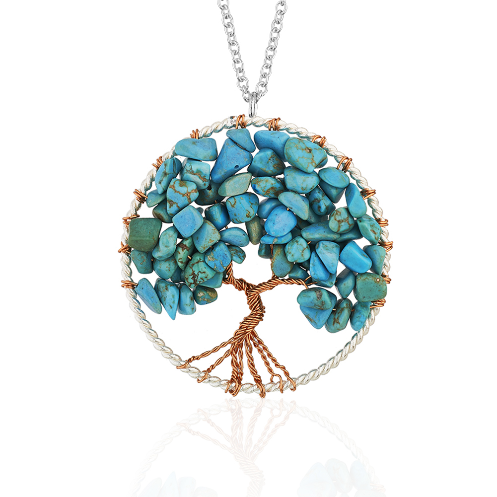 Silver-Plated Brass Copper Trunk Tree of Life Long Blue Turquoise Gemstone Necklace, 30 inches