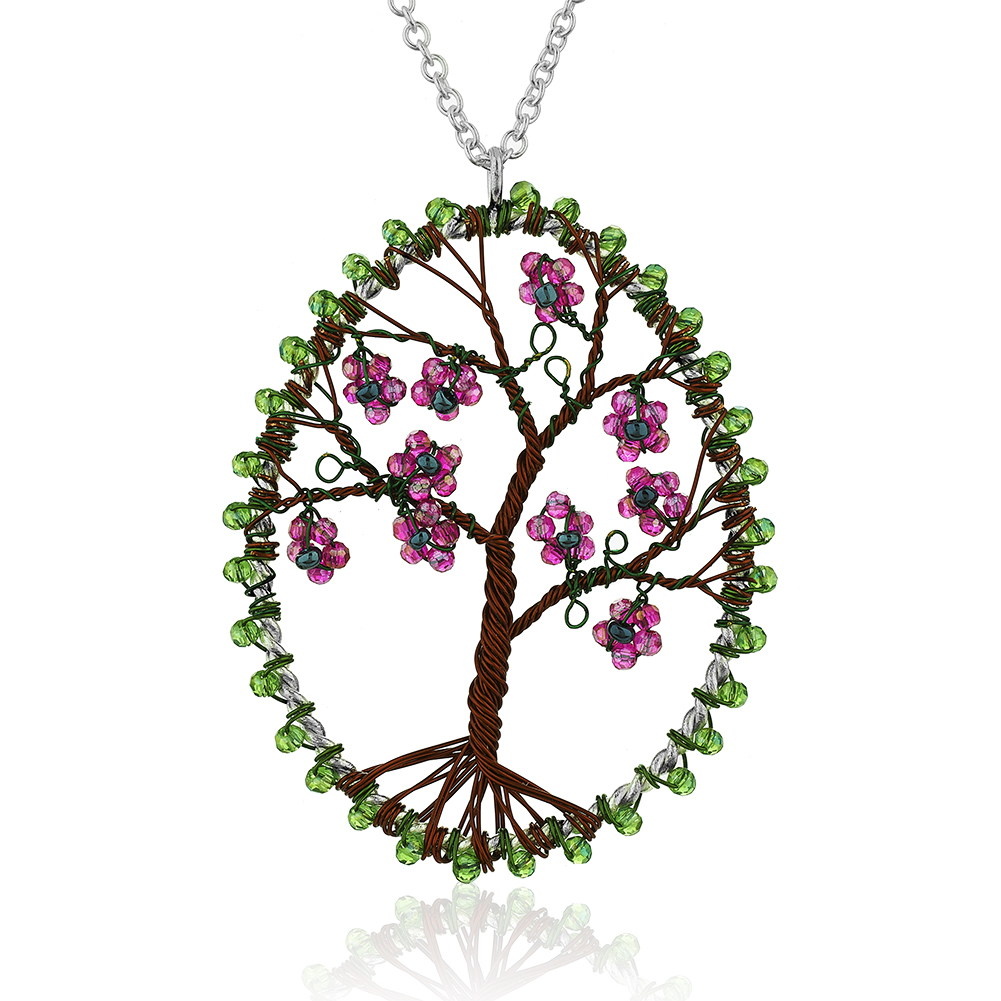 Silver-Plated Brass Copper Trunk Tree of Life Glass Flower Pendant Necklace, 30 inches