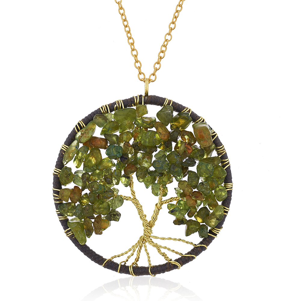 Gold-Plated Brass Cotton Wax Tree of Life Necklace Green Peridot Gemstone Necklace, 30 inches