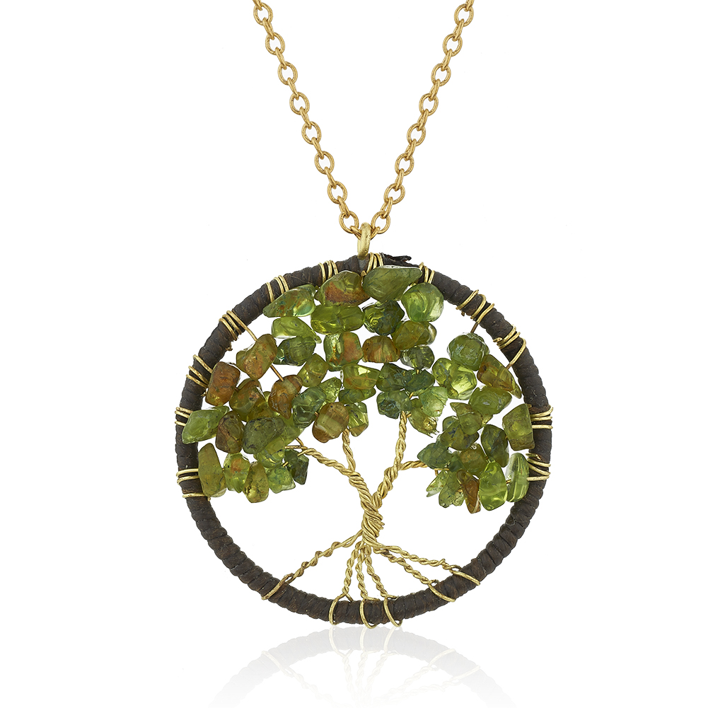 Gold-Plated Brass Cotton Wax Tree of Life Necklace Green Peridot Gemstone Necklace, 17-19 inches