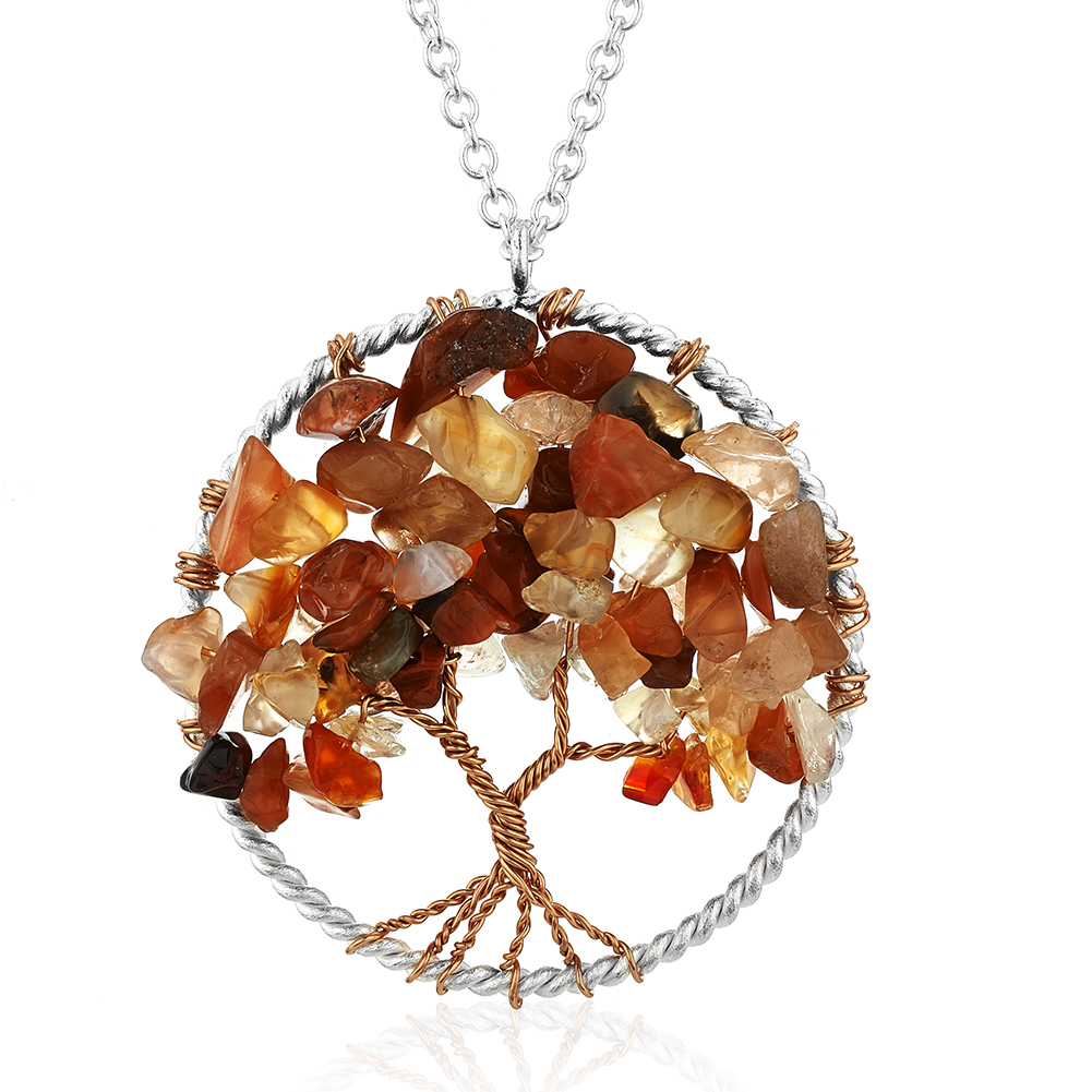 Silver-Plated Brass Tree of Life Red Carnelian Gemstone Pendant Necklace, 17-19 inches