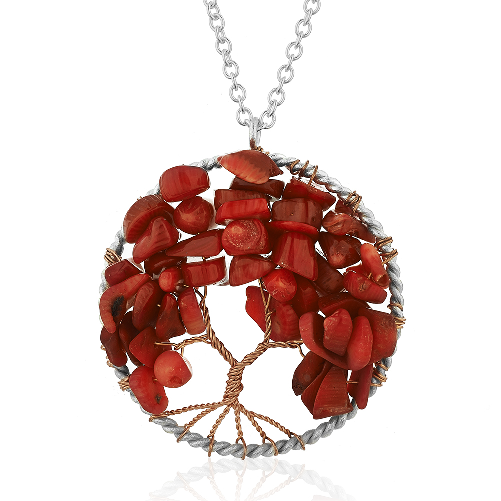 Silver plated brass tree of life red coral pendant necklace 17 19 addthis sharing sidebar aloadofball Images