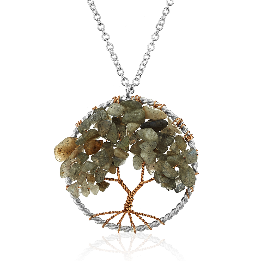 Silver-Plated Brass Tree of Life Labradorite Gemstone Pendant Necklace, 17-19 inches