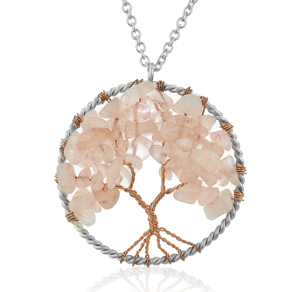 Silver-Plated Brass Tree of Life Pink Rose Quartz Gemstone Pendant Necklace, 17-19 inches