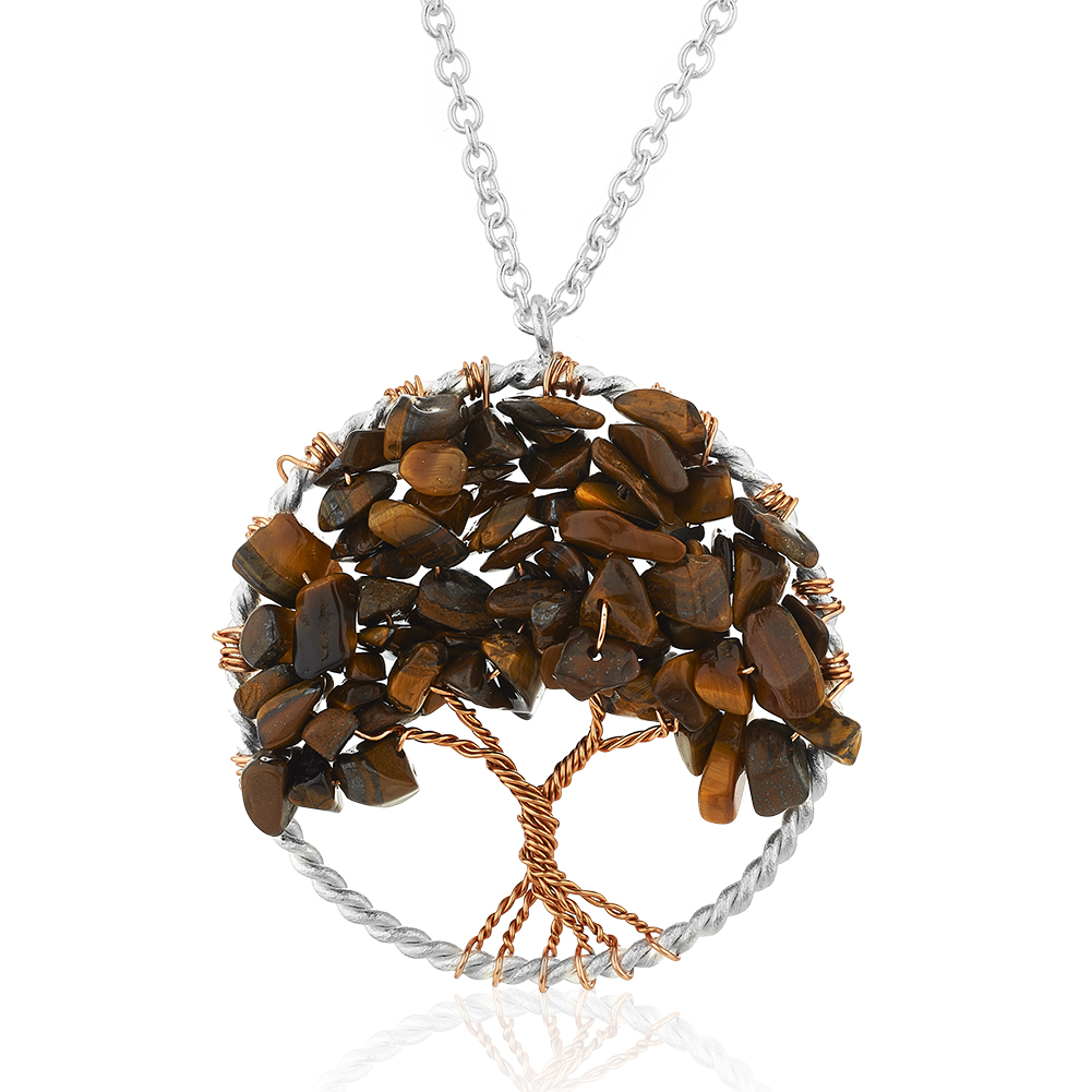 Silver-Plated Brass Tree of Life Tiger Eye Gemstone Pendant Necklace, 17-19 inches