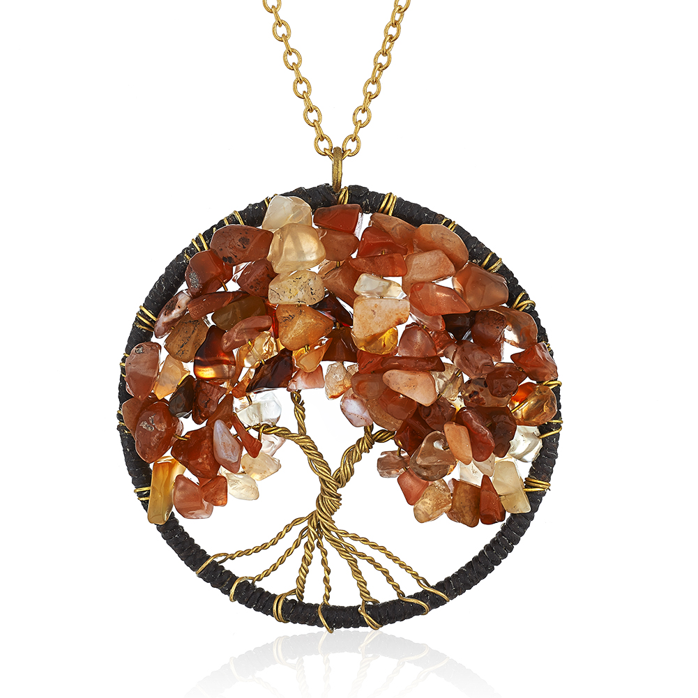 Gold-Plated Brass Copper Trunk Tree of Life Red Carnelian Gemstone Pendant Necklace, 30 inches