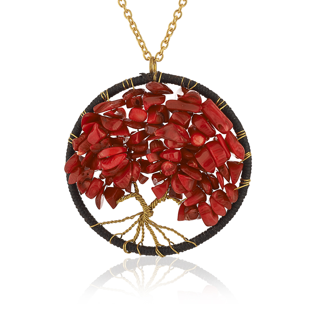 Gold-Plated Brass Copper Trunk Tree of Life Red Coral Pendant Necklace, 30 inches