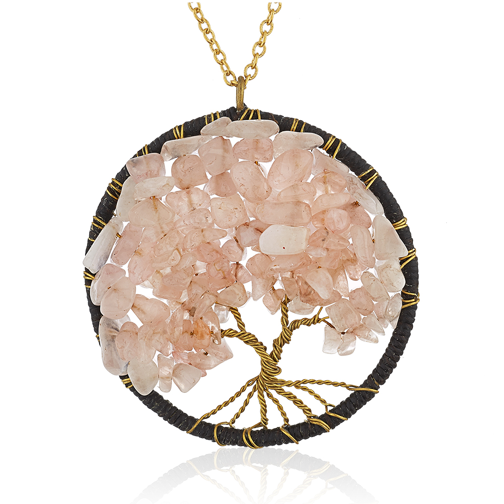 Gold-Plated Brass Copper Trunk Tree of Life Pink Rose Quartz Gemstone Pendant Necklace, 30 inches