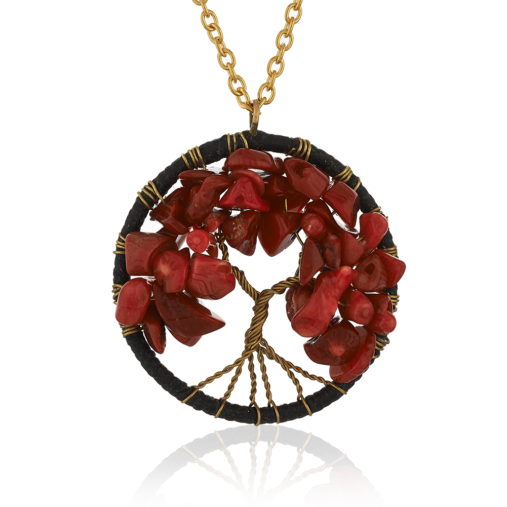 Gold-Plated Brass Copper Trunk Tree of Life Red Coral Pendant Necklace, 17-19 inches