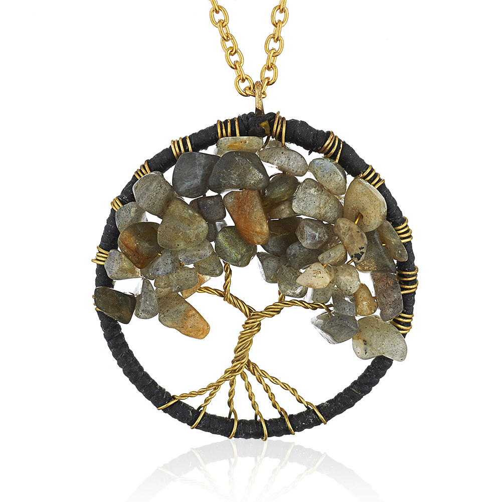 Gold-Plated Brass Copper Trunk Tree of Life Labradorite Gemstone Pendant Necklace, 17-19 inches