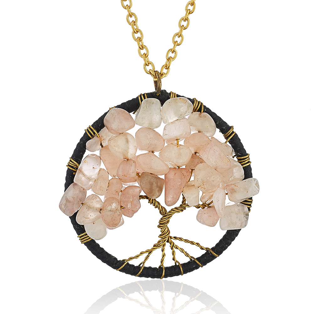 Gold-Plated Brass Copper Trunk Tree of Life Pink Rose Quartz Gemstone Pendant Necklace, 17-19 inches