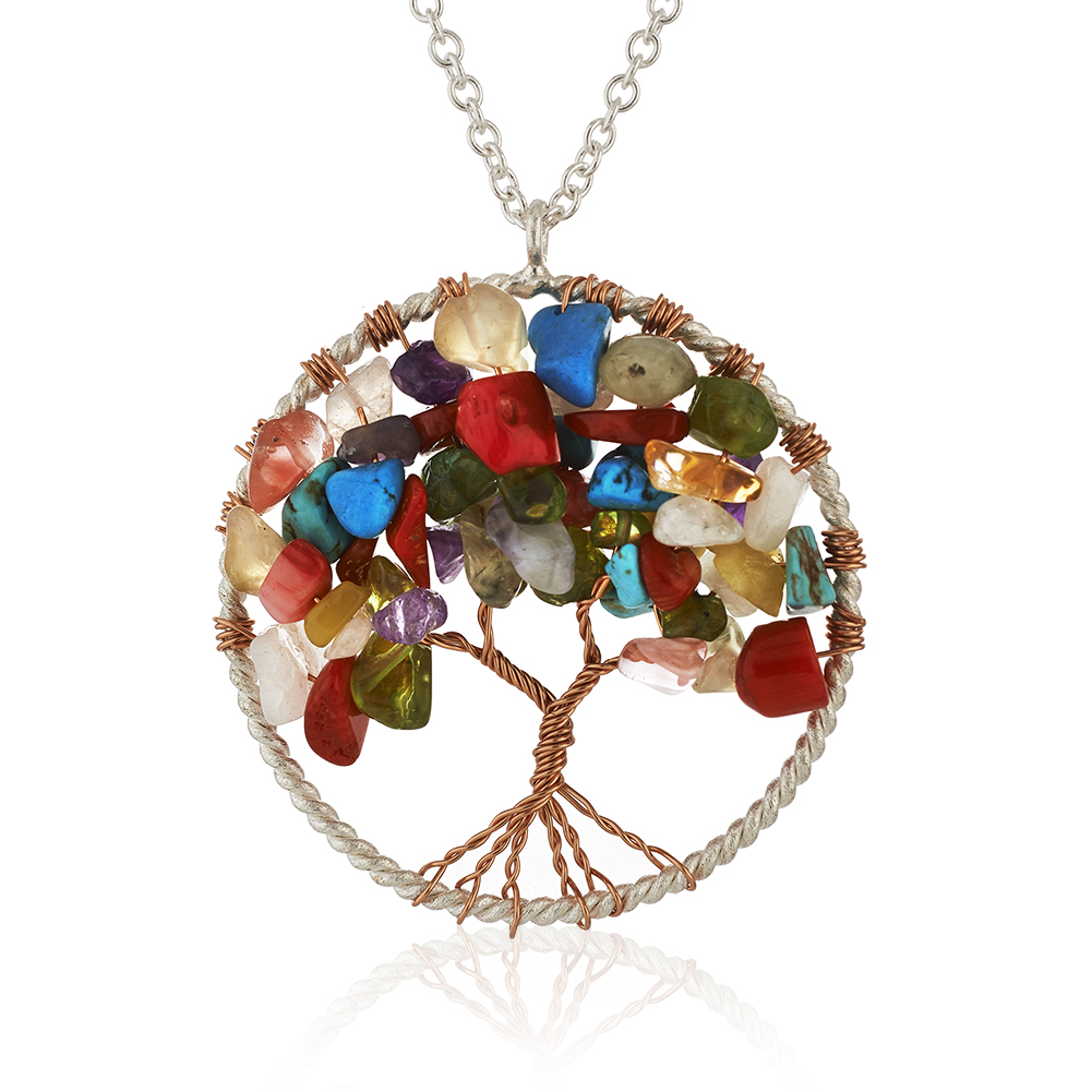 Silver-Plated Brass Tree of Life Carnelian and Turquoise Gemstone Pendant Necklace, 17-19 inches