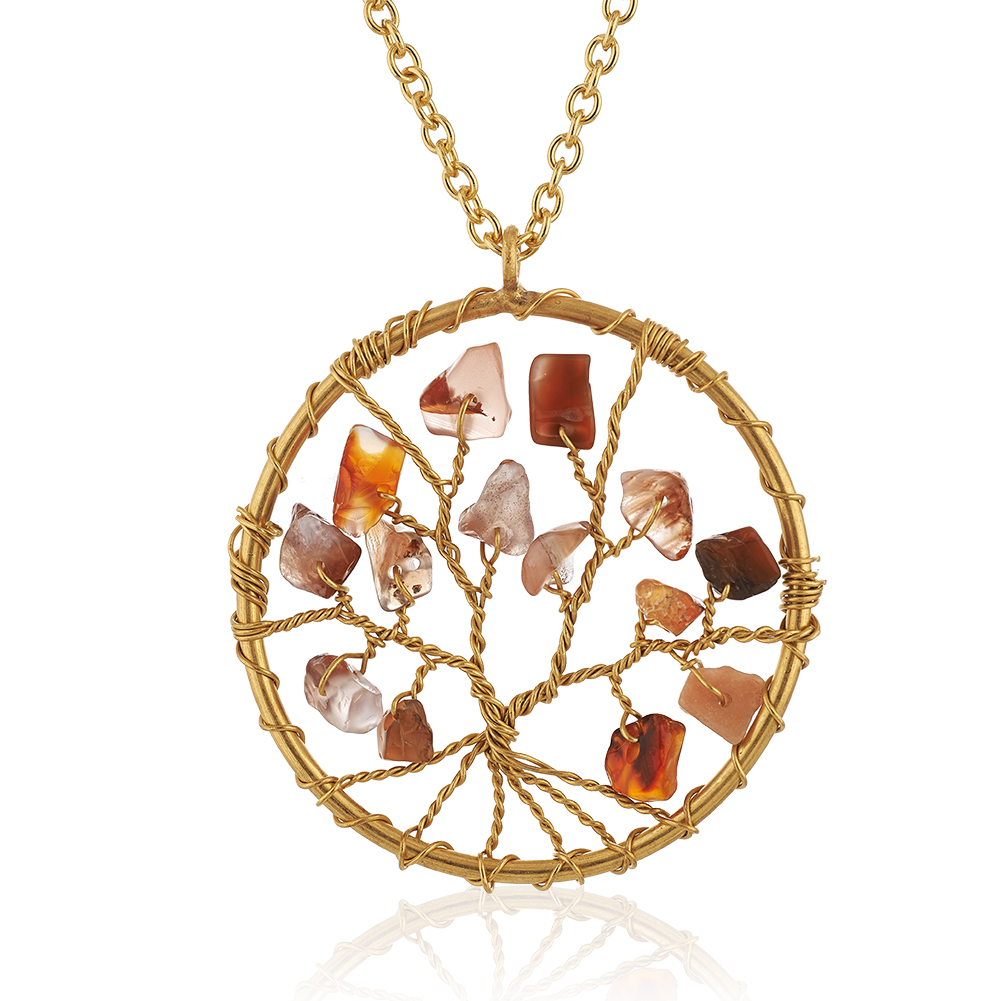 Gold-Plated Brass Tree of Life Red Carnelian Gemstone Beads Pendant Necklace, 17-19 inches