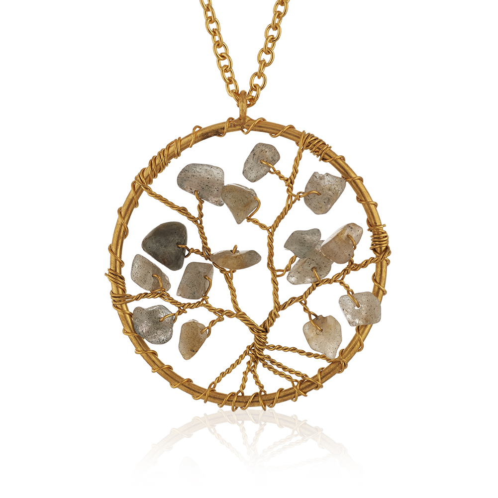Gold-Plated Brass Tree of Life Labradorite Gemstone Beads Pendant Necklace, 17-19 inches