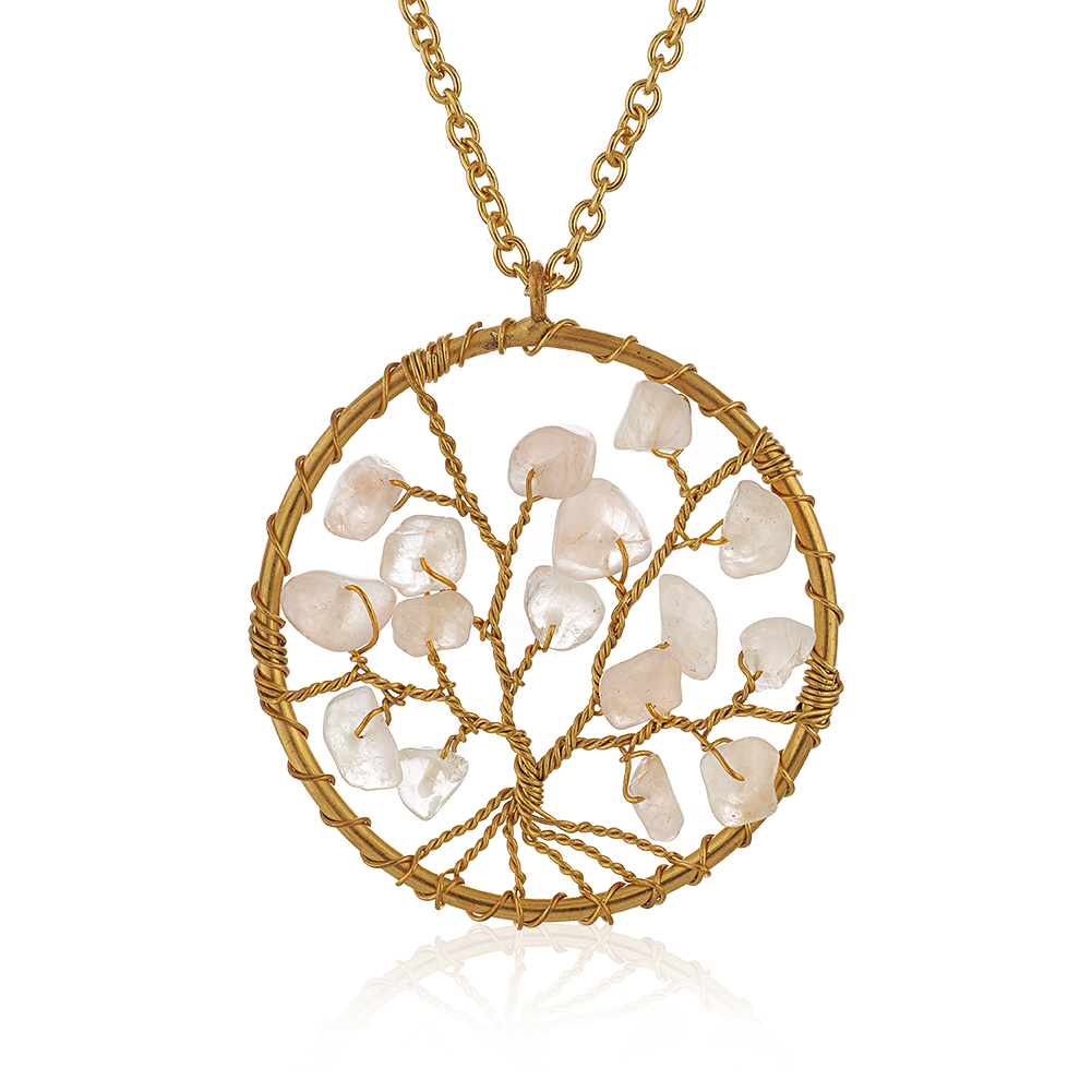 Gold-Plated Brass Tree of Life Pink Rose Quartz Gemstone Beads Pendant Necklace, 17-19 inches