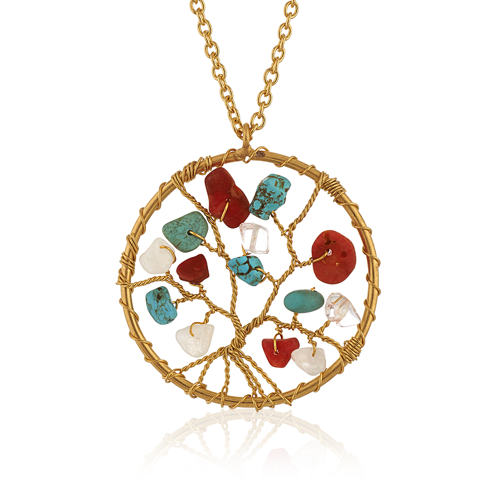 Gold-Plated Brass Tree of Life Multi Gemstone Beads Pendant Necklace, 17-19 inches