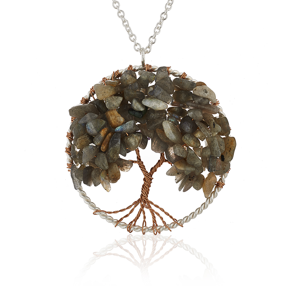 Silver-Plated Brass Copper Trunk Tree of Life Long Labradorite Gemstone Necklace, 30 inches