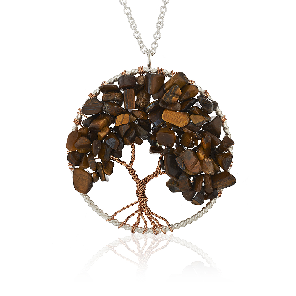 Silver-Plated Brass Copper Trunk Tree of Life Long Tiger Eye Gemstone Necklace, 30 inches