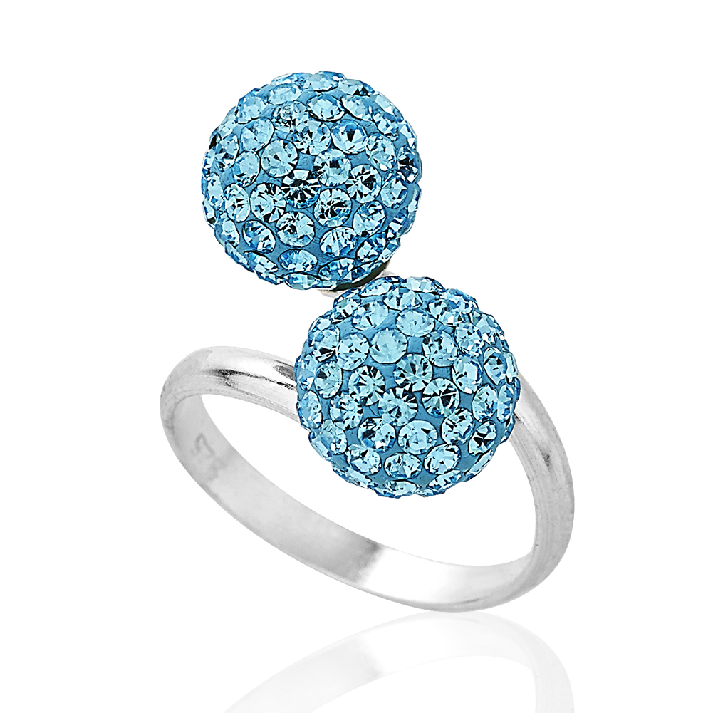 925 Sterling Silver & Aquamarine Crystal Glass Balls , Adjustable Ring, Jewelry For Women, Girls