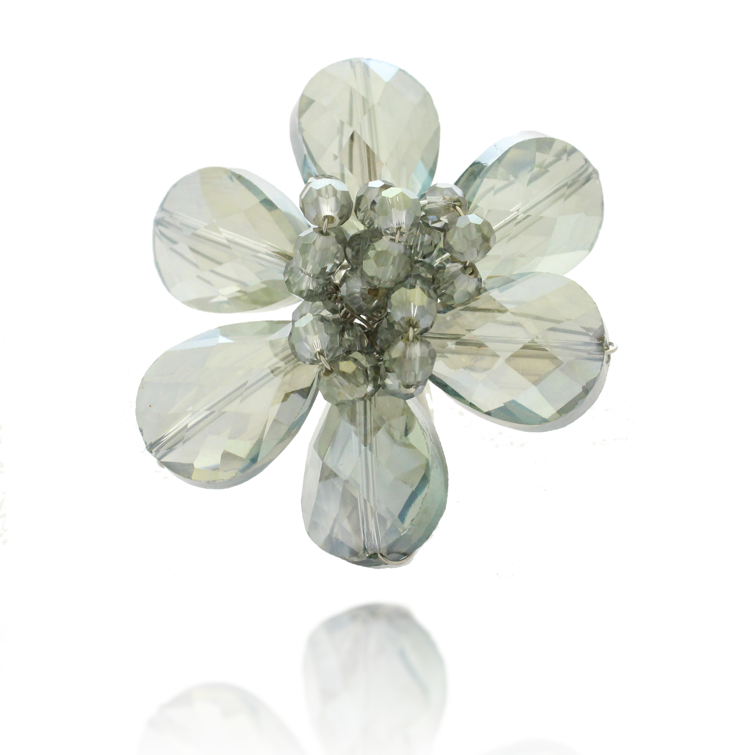 Zinc Handwired Faceted Gray Crystal Glass Beads Flower Adjustable Ring