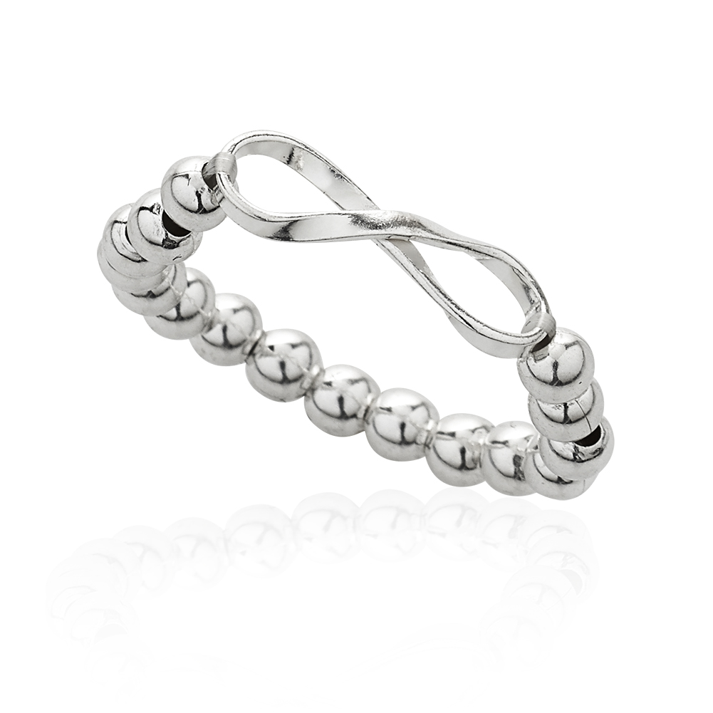 925 Sterling Silver Long Infinity Ball Bead Stretch Adjustable Ring, Sizes